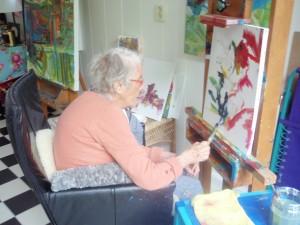 Ali Kolman aan het schilderen, 24 juni 2012