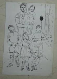 Ali Kolman - schets van haar moeder (Moeke) met kinderen. Aaltje zelf midvoor natuurlijk
