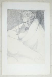 Ali Kolman - schets van haar moeder (Moeke) met baby
