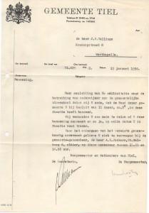 aanstelling van Jan Vellinga als leraar in Tiel